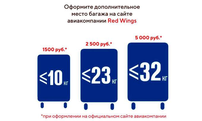 дополнительный багаж Ред Вингс